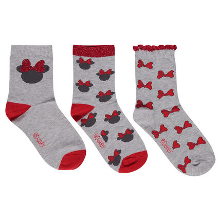 Set of 3 pairs of socks with ©Disney Minnie Mouse screenprint and jacquard bows