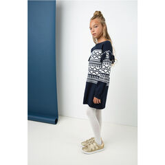 Junior - Long-sleeved double knit dress with jacquard and pompoms