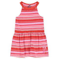 Dress with allover stripes and lace binding
