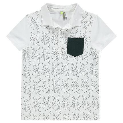 Junior - Short-sleeved polo shirt with geometric print