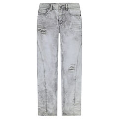 Junior - Used and crinkled-effect straight jeans