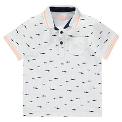 Short-sleeved polo shirt in piqué cotton with printed fish