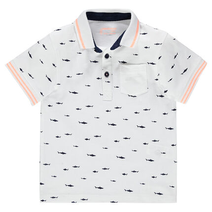 Junior - Short-sleeved polo shirt in piqué cotton with printed fish