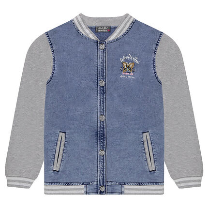 Junior - Bleached denim-effect fleece letterman jacket