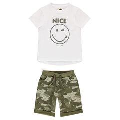 Ensemble avec tee-shirt print Smiley et bermuda en molleton army