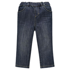 Worn-effect elastic waist jeans
