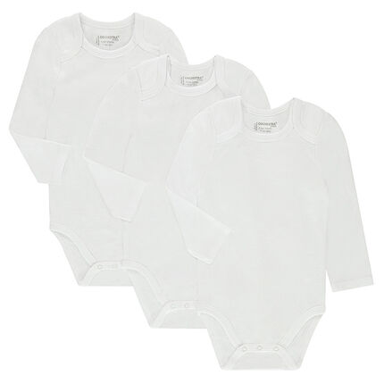 Set of 3 long-sleeved bodysuits with opening adapted according to the age