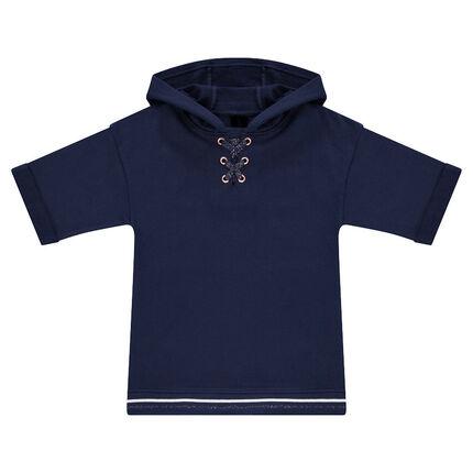 Junior - Hooded fleece sweatshirt with trendy laces