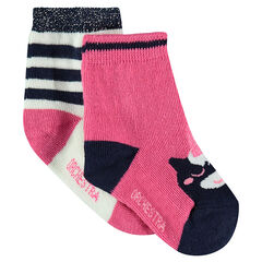 Set of 2 pairs of assorted socks with a jacquard unicorn motif