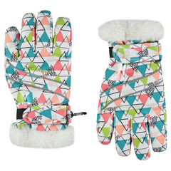 Microfleece lined printed ski gloves with faux fur