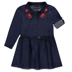 Long-sleeved chambray dress with embroidered flowers