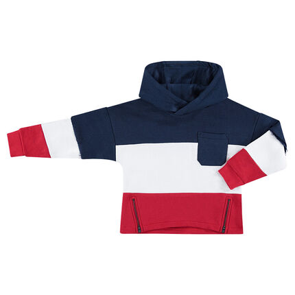 Tricolor fleece sweatshirt with patch pocket and zippers in front
