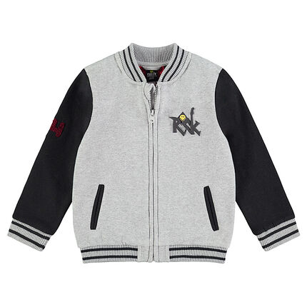 Two-tone fleece letter jacket with ©Smiley prints in front and in back