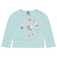 Long-sleeved frilled tee-shirt with print