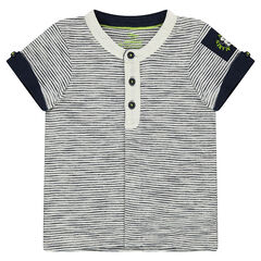 Short-sleeved polo shirt with allover stripes, a trendy collar and full-length opening