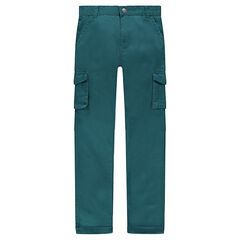 Junior - Green twill pants with pockets