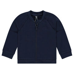 Plain-colored zipped fleece jacket