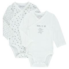 Set of 2 long-sleeved bodysuits from premature to 3 months