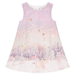 Sleeveless dress with sublimation print and golden sparkles