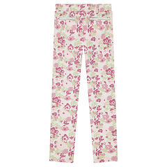 Milano jeggings with allover flowers and decorative zipped pockets