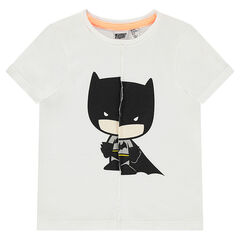 Short-sleeved tee-shirt in ripped-effect jersey with ©Warner Batman print