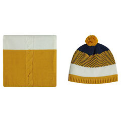 Knit cap and scarf ensemble with jacquard motifs