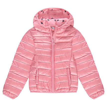 *Light waterproof padded jacket with hood and a printed storage bag