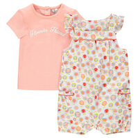 Ensemble with tee-shirt and short overalls with flowers