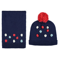 Ensemble with cap and scarf with pompoms