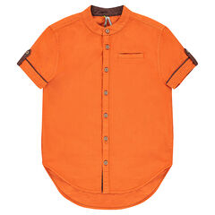 Junior - Short-sleeved shirt with a mao collar and pocket