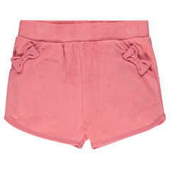 Terry cotton shorts with decorative bows