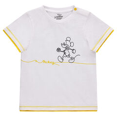 Short-sleeved pique cotton tee-shirt with a Mickey Mouse print