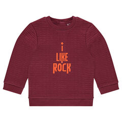 Fleece sweatshirt with printed message