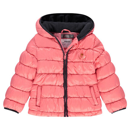 Quilted and padded down coat with a hood and microfleece lining