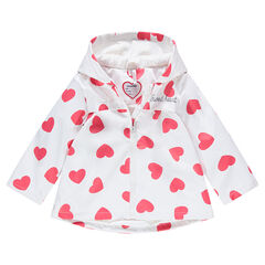 Hooded rubber parka with allover hearts print