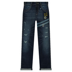 Junior - Used-effect jeans with printed bands and embroidery
