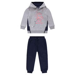 Fleece sweatsuit with ©Disney Mickey Mouse print and decorative zippers
