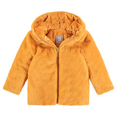 Mustard yellow fake fur coat with a sherpa lining