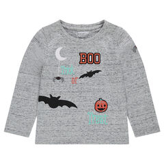 Long-sleeved tee-shirt with HALLOWEEN prints and embroidery