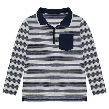 Junior - Long-sleeved allover striped polo shirt with zippered neck