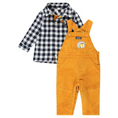 Ensemble with a checkered flannel shirt and microfleece-lined overalls