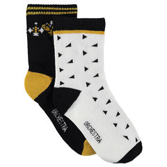 Set of 2 pairs of socks with an allover motif / plain with motif