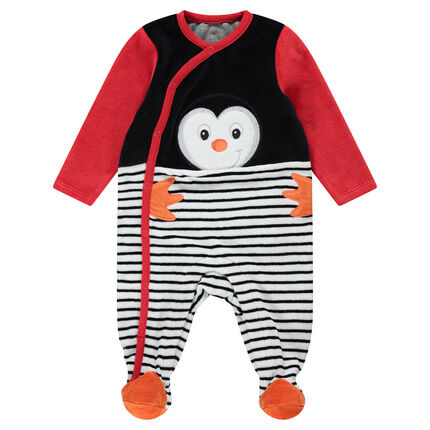 Dors-bien en velours avec pingouin et rayures placées