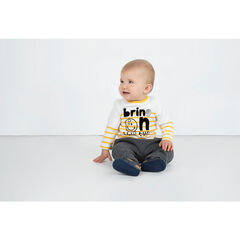 Striped tee-shirt with ©Smiley print and a French terry message