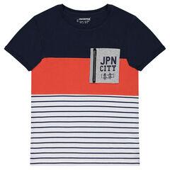 Junior - Tee-shirt manches courtes avec poche zippée et rayures