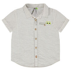 Short-sleeved shirt with trendy stripes, a pocket and crocodile yoke