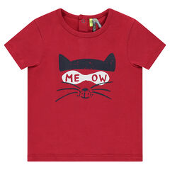 Short-sleeved jersey tee-shirt with printed cat