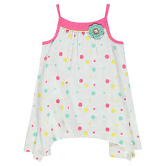 Thin-strapped tunic with allover polka dots and an embroidered flower