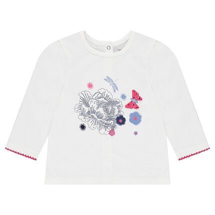 Long-sleeved jersey tee-shirt with printed flowers and embroidered details