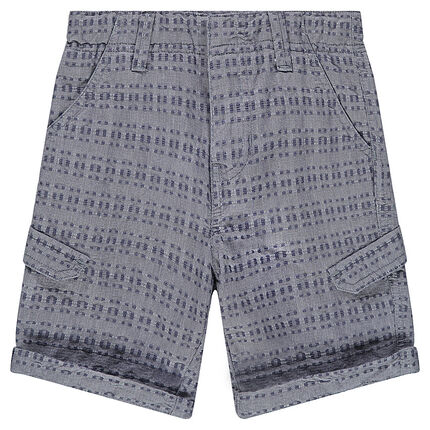 Junior - Bermuda shorts in an original cotton fabric with pockets